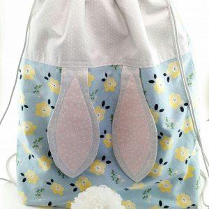 Bunny Backpack, String Backpack, String Backpack with pocket, Spring Break Sewing classes for kids, sewing classes for kids, sewing day camps