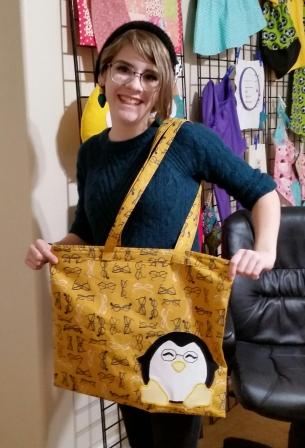 Library Tote, Beginning sewing machine class