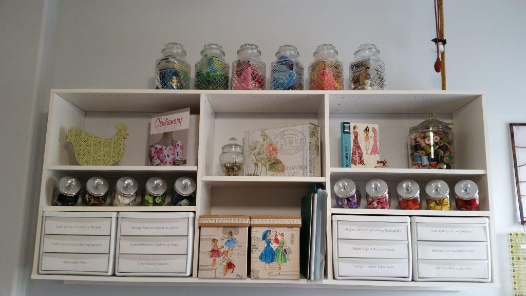 craft room organization, pattern box, vintage thread, zipper collection, button collection