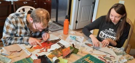 Making Fish by Laura Heine, Art Quilting, Collage Quilting, Quilt Crossing, Boise Idaho, Fish Quilts, Celias Craft Room, McKinna Ryan Fish, Art Quilting Classes
